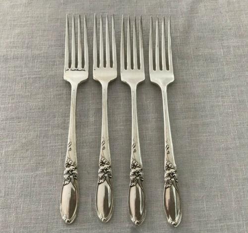 "4 Oneida Community White Orchid Silverplate Dinner Forks 7 3/4"" VGC"