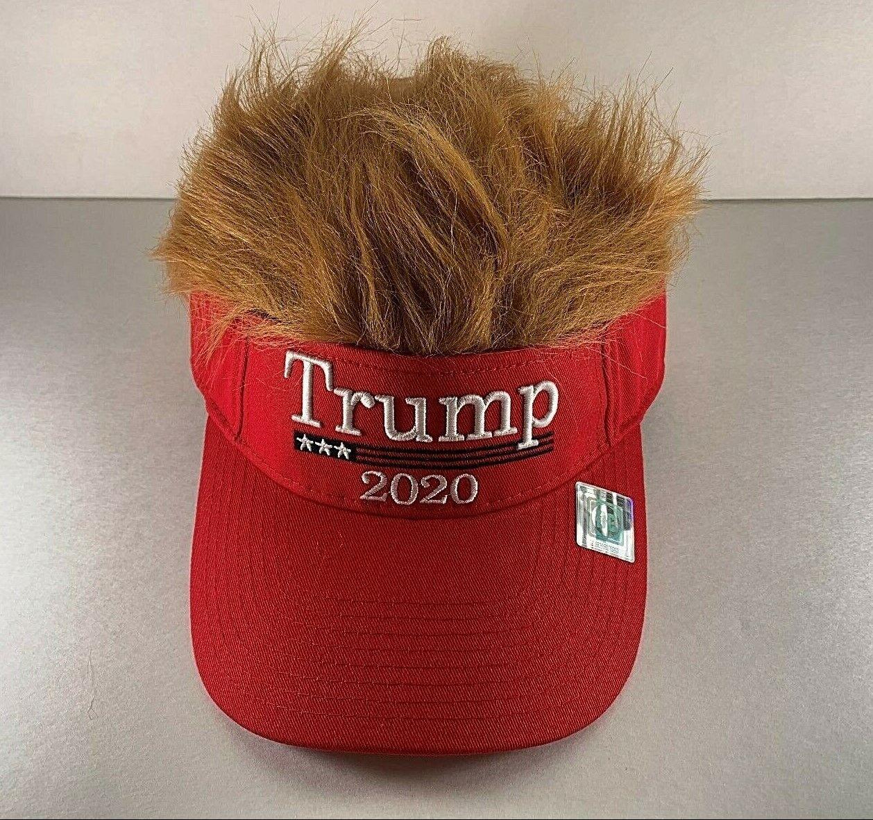 Donald Trump 2020 Wig Visor Hat Keep America Great USA Campaign Baseball Cap
