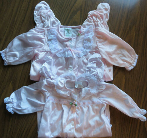 Vintage Pink/Lavender Nylon Lace Baby Girl Romper Lot size 0-3 mos.