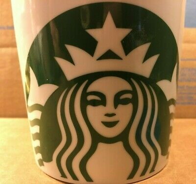Starbucks Coffee Mug Green Siren Mermaid Logo White Barrel Cup 14 oz New