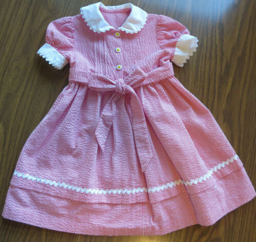 Vintage  Red/White Pinstripe Little Girl Dress Size 5?