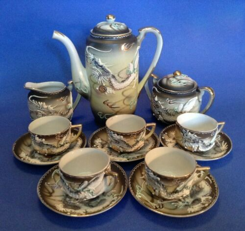 DragonWare Tea Set - Teapot Sugar Creamer - 5 Demitasse Cups & Saucers - Japan