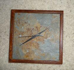 Rare Unique 9 Square Earthtone Seamless Rock Stone Square Wall Clock