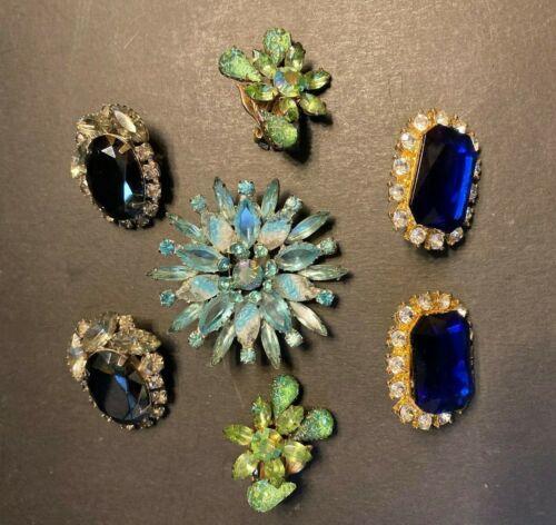Vtg Rhinestone Jewerly Lot 1 Brooch & 3 Sets of Earrings