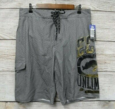 Ecko Unltd Swim Mens XL Grey Marled Gold Logo Board Tech W/ Support Shorts New
