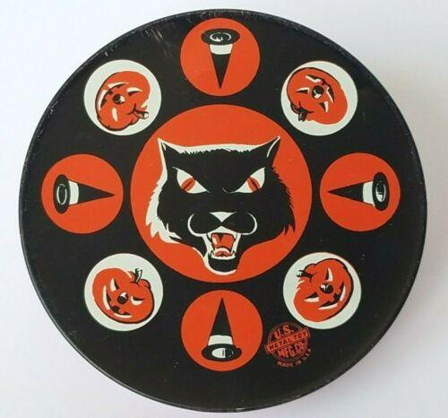 Vintage U.S. METAL TOY Halloween Noisemaker Black Cat, Jack-o-lantern, Witch Hat