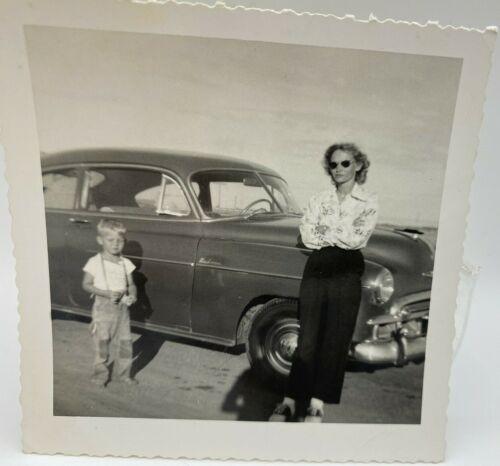 Vtg Photo 1951 Chevy Deluxe Sedan Car, Woman Sunglasses Son Chevrolet