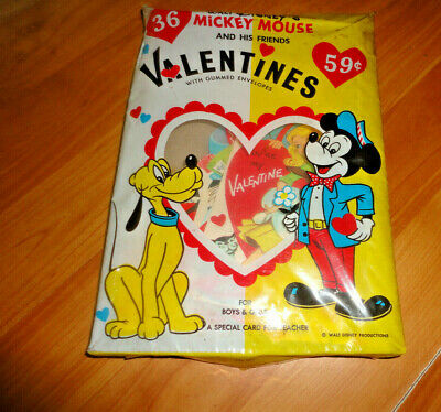 Vtg Walt Disney 36 Valentines Mickey Mouse & His Friends NIP Mid Century 1960's