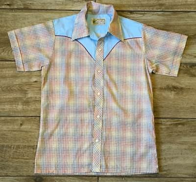 Vintage Boy's Sands Point Western Short Sleeve Shirt Size 18