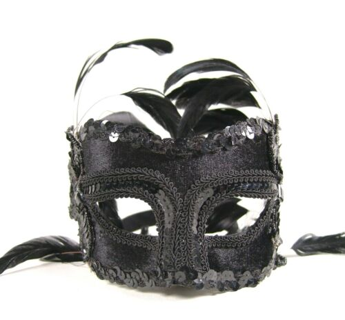 Vintage Black Masquerade Mask Fabric Sequins Iridescent Black Feathers Head Band