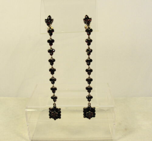 "4"" Long Victorian Bohemian Garnet Earrings Antique"