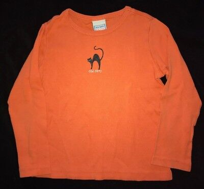 girls size XS orange LONG SLEEVE HALLOWEEN TOP SHIRT by OLD NAVY black CAT spark (Sparks Halloween)