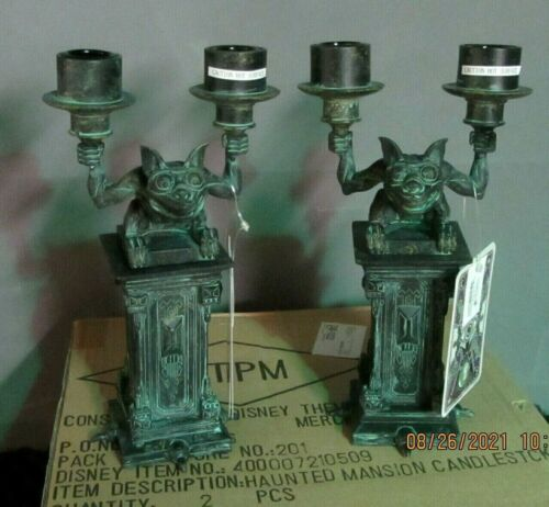 DISNEY HAUNTED MANSION CANDLE HOLDERS SET 2 PCS. NEW FACTORY SHIPPER DOUBLE BOXD