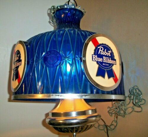 "REAL NICE, VINTAGE, ALL ORIGINAL ""PABST BLUE RIBBON BEER"" CEILING LIGHT"