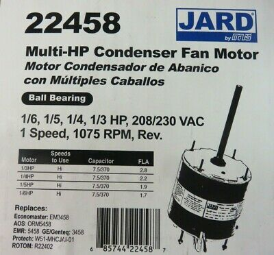 Condenser Fan Motor For Central Ac Units 1075 Rpm Universal 16 To 13 Hp Jard