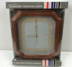 Vintage New Sealed Sunbeam Fashion Wall Clock Solid Wood 882-1242 Windwood