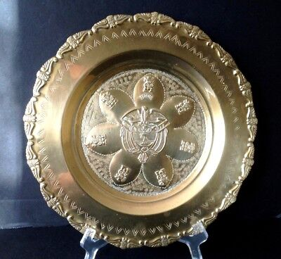 Vintage Republic Of Colombia Coat Of Arms Hammered Brass 11 3 4 Wall Plate