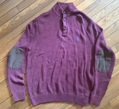 Chaps Mens 2-Button Elbow Patches NEW Violet Cotton Sweater Large
