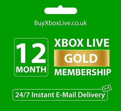 12 MONTHS XBOX LIVE GOLD MEMBERSHIP FOR XBOX 360 / XBOX ONE - INSTANT DELIVERY