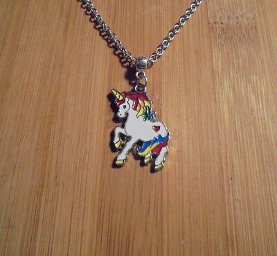Unicorn Charm Chain Silver Necklace 18 Inch**~Free Ship - Unicorn Charm