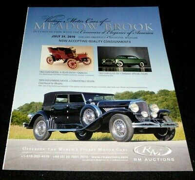 VINTAGE MOTOR CARS AT MEADOW BROOK AUCTION ADVERTISEMENT 2010 -1929 DUESENBERG