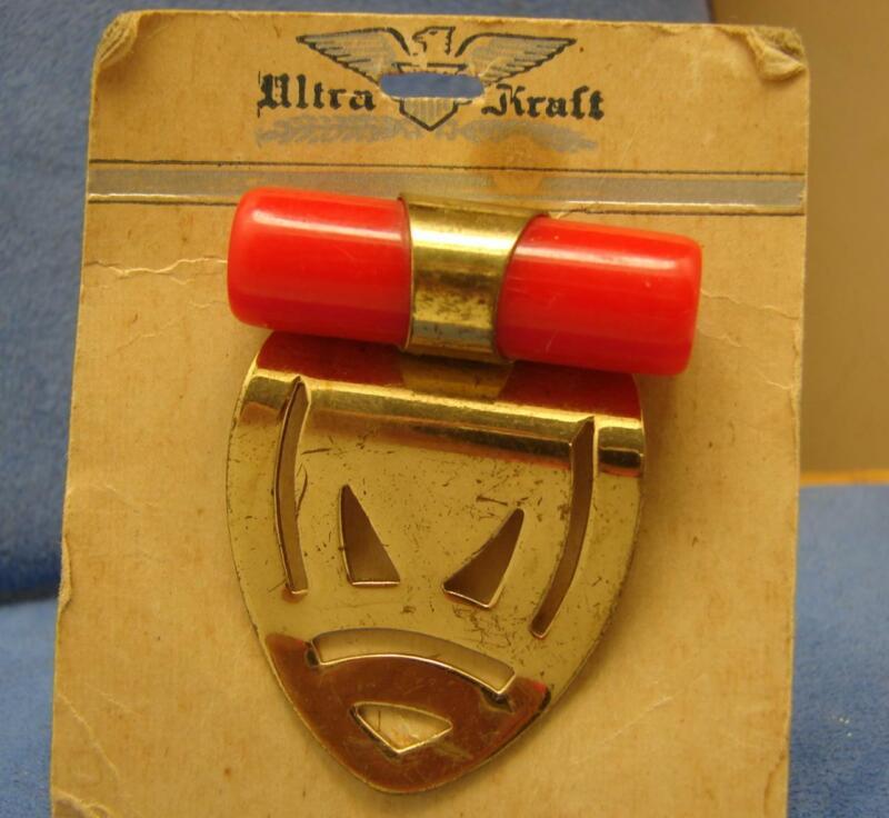 Vintage Cherry Red Bakelite Gold Tone Fur Clip Dress Clip on Original Card