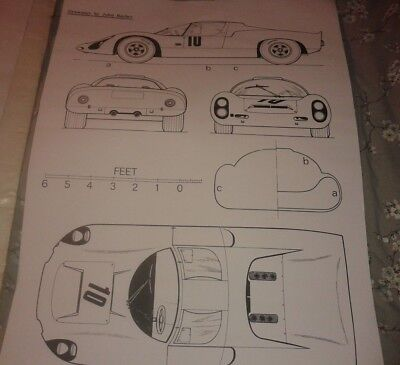 A1 plan drawing 1964 Porsche 910