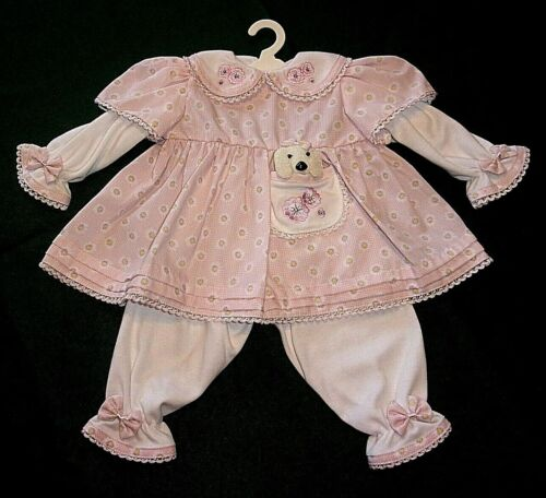 """NEW ADORA 20"""" NAME YOUR OWN BABY PINK PUPPY DRESS OUTFIT"""