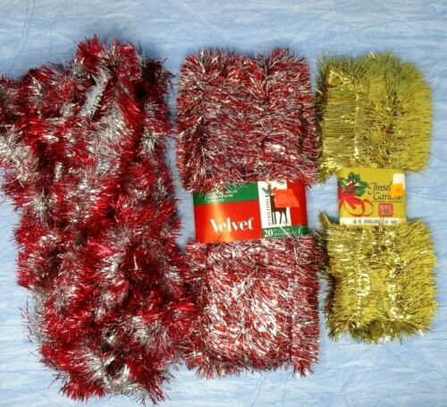 Vintage Christmas Tinsel Garland Red Silver Gold 3 packs