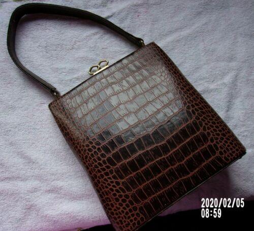Vintage Mid Century Genuine Handbag by Escort. Deep Brown.