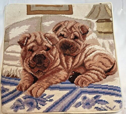 "Sharpei Puppies Dog Needlepoint 14"" Pillowcase Velveteen Back w/ Zipper"