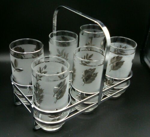 Vintage Libbey Silver Leaf Leaves Frosted Tumblers w/ Metal Chrome Carrier 7 pcs