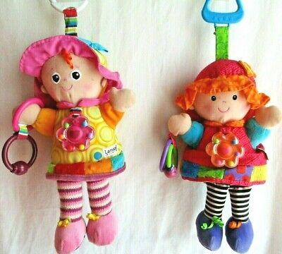 Lot of 2~ Tomy Lamaze My Friends Girl Dolls Stroller Crib Plush Clip On Toy