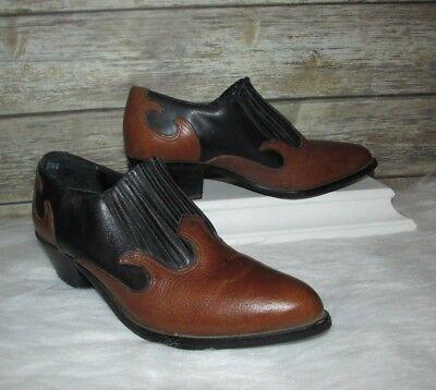 Vntg Dingo Brown Black Leather Western Wear Pull On Sz 8 Ankle Heel Booties Leather Pull On Heels