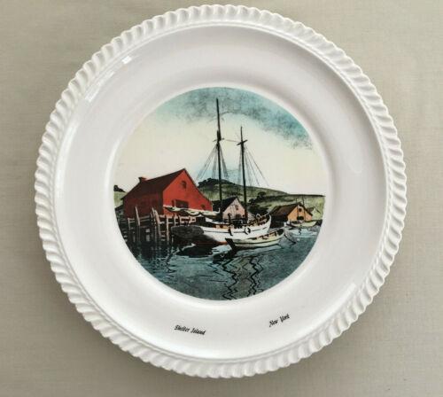 """Shelter island Harbor New York NY Delano Studio 10"""" Plate 1960"""