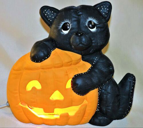 Vintage Ceramic  Pumpkin Light Halloween Black Cat Decor Decoration