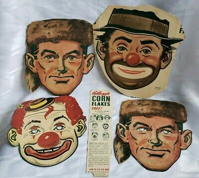 KELLOGG'S CORN FLAKES FALSE FACES VINTAGE LOT OF 4 CUT OUT ORIGINAL CEREAL BOX