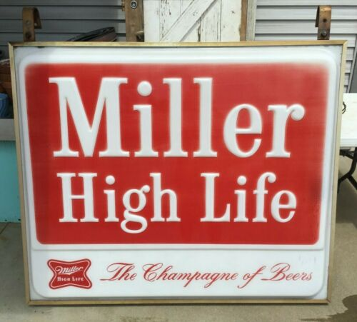 1970s Advertising Everbrite Electric Sign MILLER HIGH LIFE BEER outdoor light up