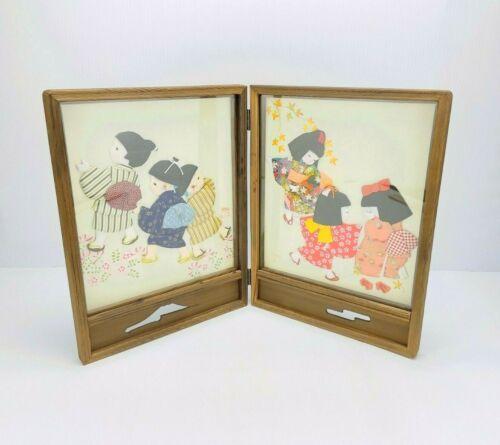 VINTAGE JAPANESE 3D SILK FABRIC ORIGAMI CHILDREN KIMONO FOLDING PICTURES!