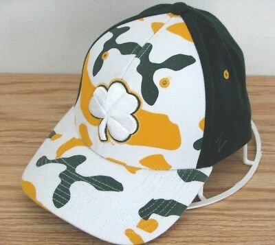 Notre Dame Irish Clover Camo Hat Zephyr Fitted Stretchy Sample M/L Cap  - Damen Spandex Cap