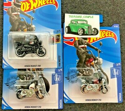 Hot Wheels - Lot of 3 - HONDA Monkey - 1 TREASURE Hunt & 2 2020 White / Red - E1