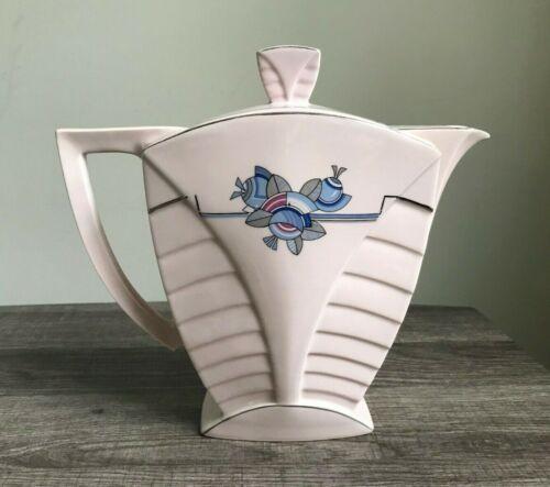 MORITZ ZDEKAUER MZ AUSTRIA Vintage Pink Blue Art Deco Teapot - VGUC