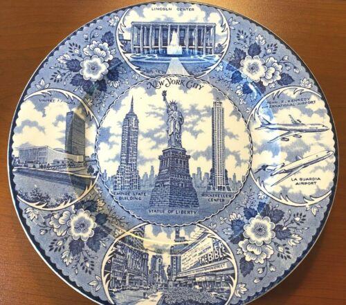 Vintage Staffordshire New York Souvenir Plate NYC Statue Lincoln UN Times Enco