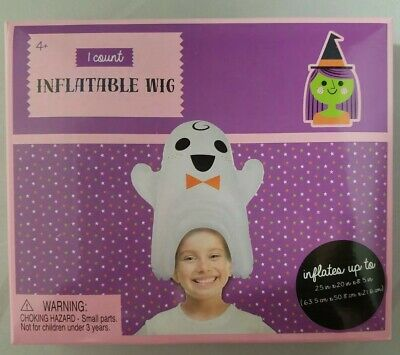 Halloween Dress Up Inflatable Blow Up Wig Hat White Ghost](Inflatable Wig)