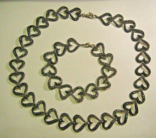 Vintage 1980s Sterling Silver Marcasite Open Heart Links Necklace Bracelet Set