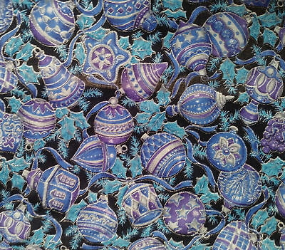 HOLIDAY CHRISTMAS print COTTON fabric BTY ornaments Blue Black Decorations quilt Black Christmas Holiday Ornaments