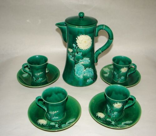 Art Nouveau Awaji Japanese hand thrown pottery Green Monochrome Coffee Tea set