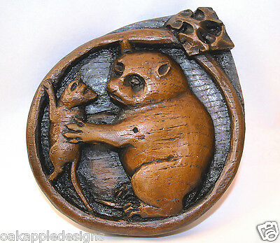 Cat Mouse Rat Wall Plaque Medieval Cathedral Misericord Carving Beverley Minster