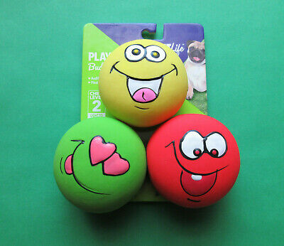 Squeak Buddy - VIBRANT LIFE EMOTICON PLAYFUL BUDDY SQUEAK DOG TOYS  (3 PACK / NEW)
