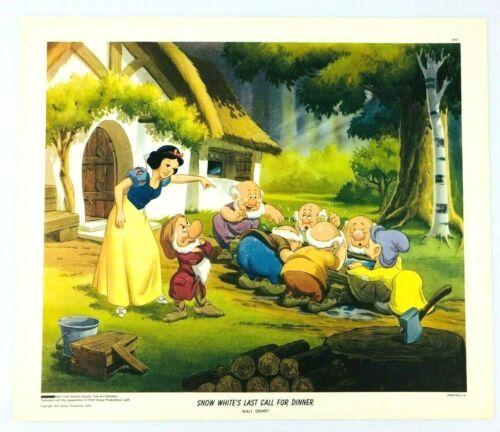 1947 NY Graphic Society Walt Disney Litho Print Snow White Last Call For Dinner